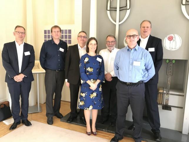From left, Nick Bowden, Thomas Slight, Stephen Taylor, Carol Monaghan, Sir. Peter Knight, Trevor Cross and Euan Livingston