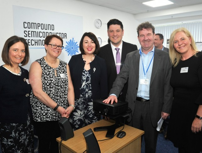 From left: Carol Monaghan MP, Sharon Doonin PA to CEO, Monica Lennon MSP, Ged Killen MP, Neil Martin, CEO and Cylina Porch
