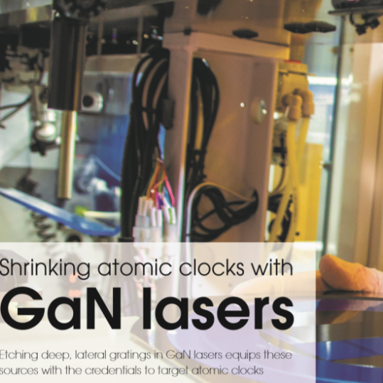 Shrinking atomic clocks article on front cover of Compound Semiconductor Magazine.